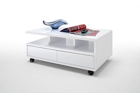 Dreams4Home Couchtisch 'Riso' - Tisch, Beistelltisch, Ablagetisch, Sofatisch, B/H/T: 100 x 41 x 60 cm, mit 5 Rollen, mit 2 Schubkästen, mit Ablagefächer, Touch Open Funktion, MDF, Wohnzimmer, Gästezimmer, Hochglanz weiß, lackiert