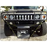 """2003-09 Hummer H2 Front Bumper End Logo Inserts, Black with Mirror """"H2"""" Logo"""