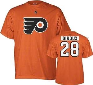 NHL Reebok Philadelphia Flyers #28 Claude Giroux Orange Net Number T-shirt (Large)