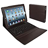 Skque Folding Leather Protective Bluetooth Keyboard Case Cover for iPad 1, iPad 2, Brown