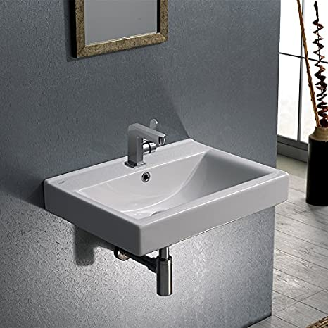 CeraStyle CeraStyle 064200-U-One Hole-637509844998 Mona Collection Bathroom Sink, White