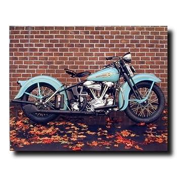 1938 Aqua Harley Davidson Vintage Motorcycle Wall Decor Art Print Poster (16x20)
