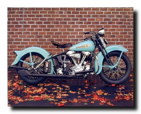 1938 Aqua Harley Davidson Vintage Motorcycle Wall Decor Art Print Poster (16x20) 0