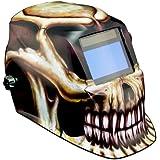 Intel-Optix IQ1700 - Casco de soldar y pulverizar (incluye bolsa, 5 lentes de recambio y banda de sudoración), diseño de calavera