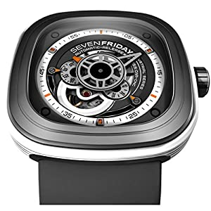 Seven Friday P3-3 47X47.6mm Automatic Stainless Steel Case Grey Rubber Anti-Reflective Sapphire Men's Watch