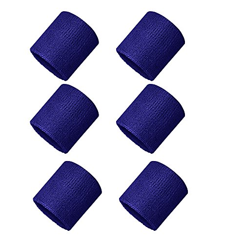 Verceys Unisex Sports Wrist Sweatbands Hand Wrap Tennis Badminton Band Blue - Pack Of 6 Bands