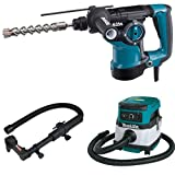 Makita HR2811F 1-1/8-Inch Rotary Hammer, accepts SDS-PLUS bits, 193472-7 Dust Extraction Attachment, SDS-PLUS, Drilling, & XCV04Z 18V X2 LXT (36V) 2.1 Gallon HEPA Filter Dry Dust Extractor/Vacuum