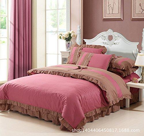 New Korean Princess Cotton Denim Twill Cotton Pastoral 4Pcs Bedding Set front-857324