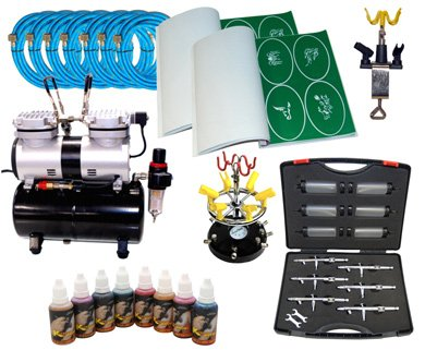 ULTIM 6 AIRBRUSH TATTOO KIT 8 Includes: COMPRESSOR, HOSE, AIRBRUSH, INK,
