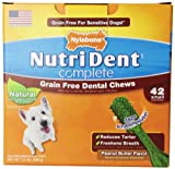 Nutri Dent Complete Grain Free Dental Chews for Adult Dogs up to 15 Pounds, Peanut Butter, 42 Count Pantry Pack