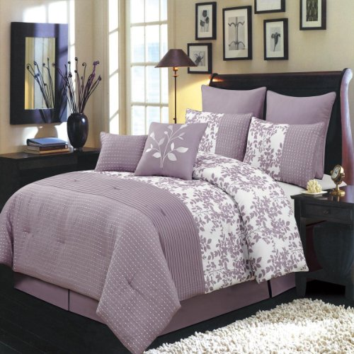 Bliss Purple And White King Size Luxury 8 Piece Comforter Set Includes Comforter, Bed Skirt, Pillow Shams, Decorative Pillows front-104659