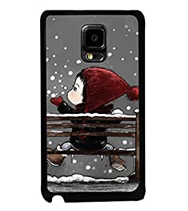 Fuson Premium 2D Back Case Cover Cute baby in Snow With White Background Degined For Samsung Galaxy Note Edge::Samsung Galaxy Note Edge N915