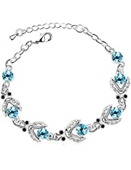 Silver Shoppee Flirtatious Me Rhodium Plated Crystal And Cubic Zirconia Studded Alloy Bracelet