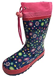 Toddler Girls Blue Floral Rain Boot Snow Boot with Tie and Lining - Flower Design (10)