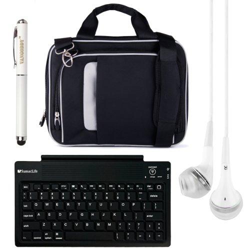 "Pinn Messenger Bag For Hannspree T7 Series 10.1"" Tablet + Bluetooth Keyboard + Vg Stylus Pen + White Vangoddy Headphones (Black)"