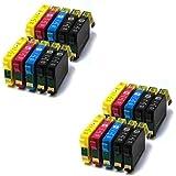 20 XL Compatible Cartouches d'encre pour Epson T1291-T1294 (T1295), Stylus SX235W, SX420W, SX425W, SX435W, SX445W, SX525WD, SX535WD, SX620FW, Office B42WD, BX305F, BX305FW, BX305FW Plus, BX320FW, BX525WD, BX535WD, BX625FWD, BX630FW, BX635FWD, BX925FWD, BX935FWD, WorkForce WF-7015, WF-7515, WF-7525 | 8 x Noir, 4 x Cyan, 4 x Magenta, 4 x Jaune
