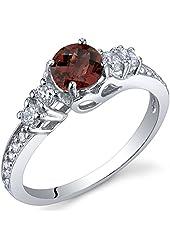 Enchanting 0.50 Carats Garnet Ring in Sterling Silver Rhodium Nickel Finish Sizes 5 to 9