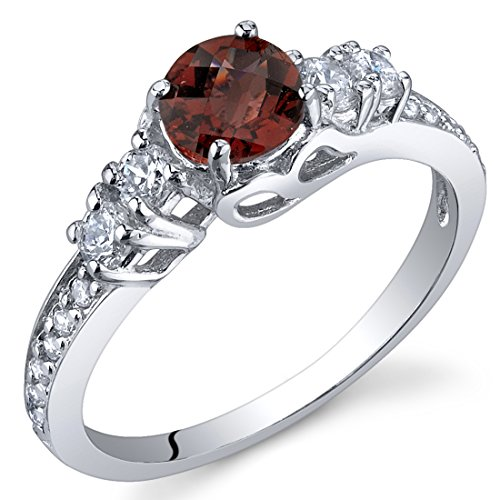 Enchanting 0.50 Carats Garnet Ring in Sterling Silver Rhodium Nickel Finish Size 7 (Sterling Silver Garnet Ring compare prices)