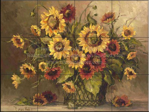 Kitchen Backsplash Tile Mural - Bathroom Wall Tile Mural -Sunflower Bouquet