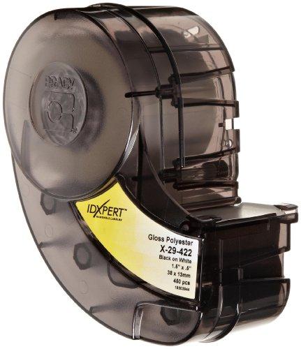 "Brady X-29-422 Idxpert 0.5"" Height, 1.5"" Width, B-422 Permanent Polyester, Black On White Color Label (450 Per Cartridge)"