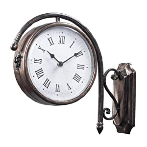 Amazoncom sterling home bronze metal double sided train for Train station style wall clock