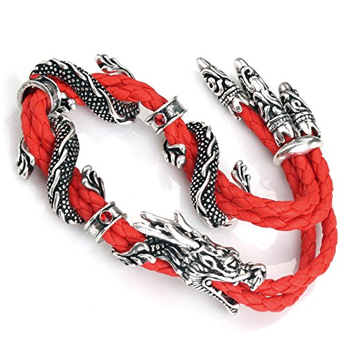 Ruimeng Stainless Steel and Red Leather Double Dragon Bracelet,Dragon Bracelet for Men,7.8″