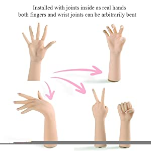 Minaky Silicone Hand Female Displays Model Mannequin Jewelery Ring Glove Bracelet Bangle Sketch Nail Display (a Pair, Without Nail) (Color: without nail, Tamaño: a pair)