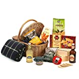 Classic Non-Alcoholic Summer Picnic Hamper with Gourmet Food & Picnic Blanket - Luxury Christmas, Xmas, Wedding Anniversary Birthday Presents, Retirement Gifts for Her Women