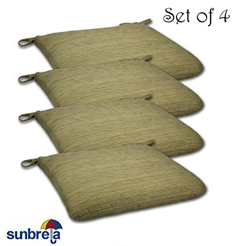 SET OF 4 20W x 19Dx 2.5H Sunbrella Indoor/Outdoor Knife Edge style seat pad cushion in Chenilella Citron by Comfort