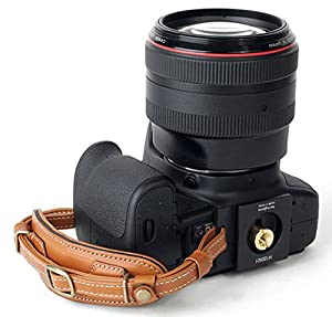 Herringbone Heritage Leather Camera Hand Grip Type 1 Hand Strap for DSLR with Multi Plate, Camel Brown (Color: Brown)