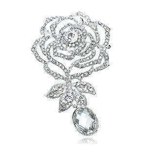 "3.8"" Dangling Oval Rhinestone Rose Flower Shape Brooch Pin Swarovski Elements Crystals"