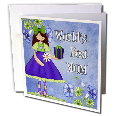 Doreen Erhardt Mothers Day Collection - Worlds Best Mom in Purple for Mothers Day - 1 Greeting Card with envelope (gc_40742_5)