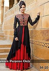 Fashion Dream Womens Fabric Georgette Gown (278_Black_Freesize )