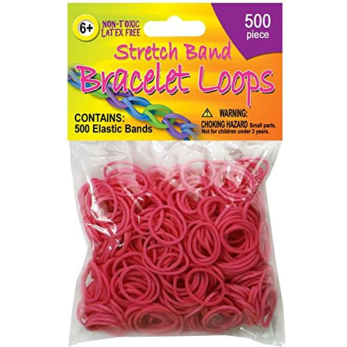 Pepperell Stretch Band Bracelet Loops, Neon Pink, 500 Per Package (Package Band compare prices)