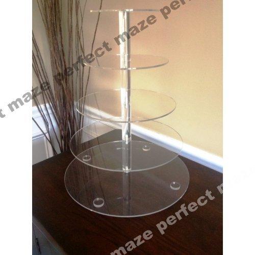 Perfectmaze 5 Tier Round Wedding Acrylic Cupcake Stand Tree Tower Cup Cake Display
