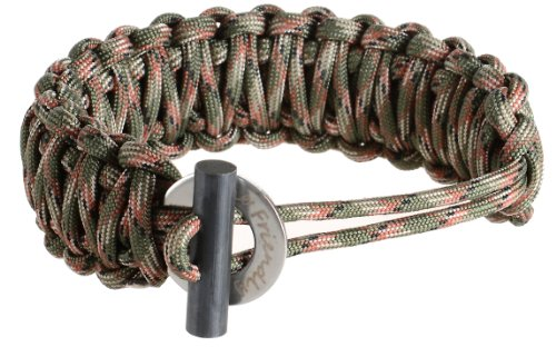 With Fire Starter - Extra Beefy / Wide / Thick Adjustable Premium Paracord / Para-cord Survival Bracelets - Adjustable Size Fits 7-9 Inch Wrists - Approx 16 Feet Disassembled Length - The Friendly Swede® Paracord Series - Lifetime Warranty (Army Green Camo)