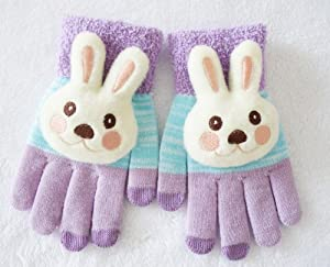 iDoll Touch Screen Glove - Cartoon Series -Three Finger - Stretchable (M- 8 inches, Purple Rabit)