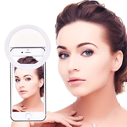 BlueBeach® 36 LED Clip on Téléphone selfie Cell Light Ring Éclairage supplémentaire avec 3 Niveau Luminosité pour Smartphones (Blanc)