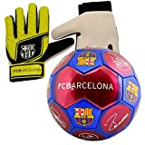 Nuskin Barcelona Size 5 Signature Football and Goalkeeper Gloves Combo
