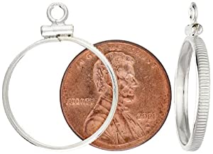 Sterling Silver Penny Bezel Screw Top 19 mm Coin Edge 1 Cent Coin NOT Included