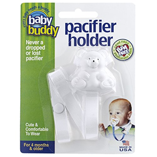 Baby Buddy Pacifier Holder, Cute, Fashionable Bear Clips onto Baby's Shirt, Snap Other End Around Pacifier, Rattle, Toy-For Babies 4 Months and Up-Pacifier Clip for Both Boys & Girls White 2 Pack - 1