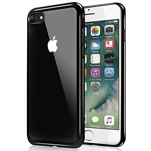 Coque iPhone 7, Ubegood iPhone 7 bumper Case [Absorption de Choc] Coque arriere transparente Bumper en TPU Coque pour iPhone 7 (Noir brillant)