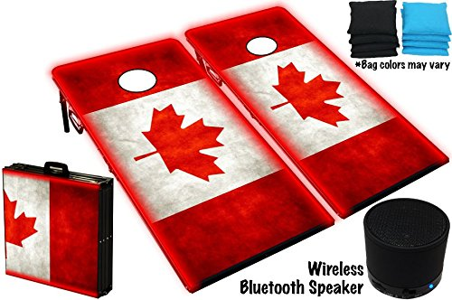 Cornhole Boards Bag Toss Game Set W/ Glow Lights & Bluetooth Speaker - Oh Canada Graphic