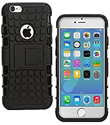 Plus Shock Proof Protective Rugged Armor Super Hybrid Heavy Duty Back Case Cover For Apple iPhone 6 / Apple iPhone 6s - Rugged Black