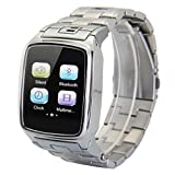 Excelvan MTK 6260 Bluetooth Smart Watch Unlocked SIM Phone Watch Sync Call Music Reminder Anti-lost Camera Remote Notifier Phone Mate for 5S,5C Samsung Galaxy S5 Note 3 HTC One LG G3 (Silver)