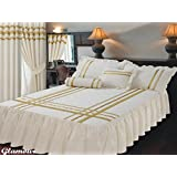 Super King Size Fitted Bedspread Glamour Ecru With Gold Trim / Ribbon, Frilled Quilted Bedspread & Pillow Shams...