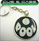 Original 8 BALL POOL Metal FLAT Keyring - Popular 80's Pool Logo - Retro Pool Key Fob