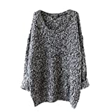 Minetom Femmes Casual Rétro Manches Longues Col O Pull Sweater Oversized Pull En Tricot Top Blouse ( Gris )...