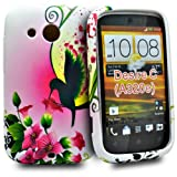 Phonedirectonline - Green bird flower design fancy silicone case cover pouch for htc desire C