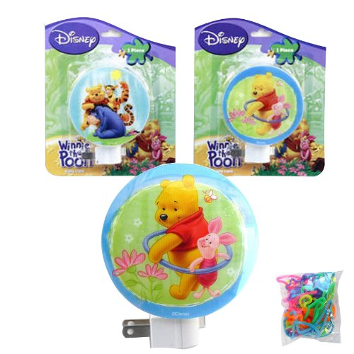 3-Pack Disney Winnie The Pooh Night Lights For Kids And Children (With On/Off Switch And Rotating Shade To Direct Light) And A 24-Pack Of Silly Bands Silicone Bracelets - Nightlights For Kids And Children